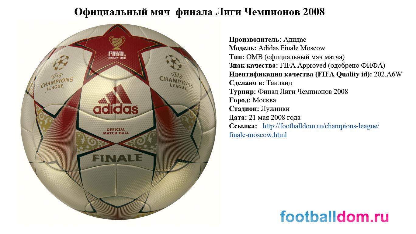 характеристика мяча финала лиги чемпионов 2008 (characteristics of ball final moscow)