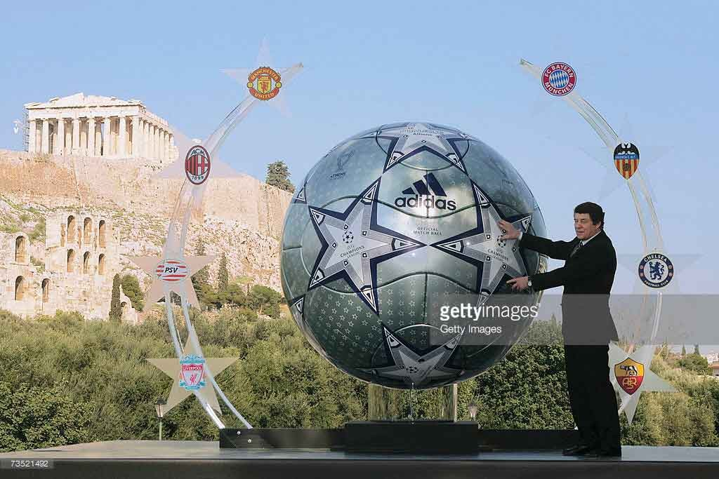 ATHENS, GREECE - MARCH 8: Otto Rehhagel, the Greek national coach unveils a huge replica of the Adidas match ball for the UEFA Champions league final 2007 in Athens in front Acropolis archaeological site on the on March 8, 2007 in Athens, Greece. (Photo by Getty Images for Adidas) *** Local Caption *** Otto Rehhagel