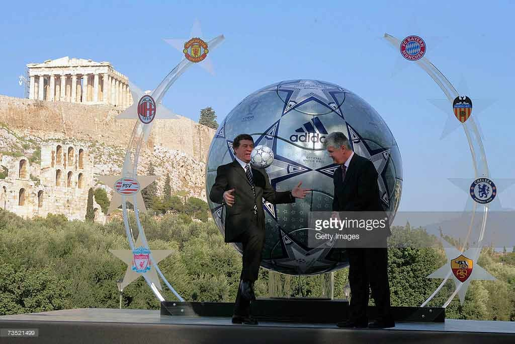 ATHENS, GREECE - MARCH 8: Otto Rehhagel (L), the Greek national coach unveils a huge replica of the Adidas match ball for the UEFA Champions league final 2007 in Athens in front Acropolis archaeological site on the on March 8, 2007 in Athens, Greece. (Photo by Getty Images for Adidas) *** Local Caption *** Otto Rehhagel
