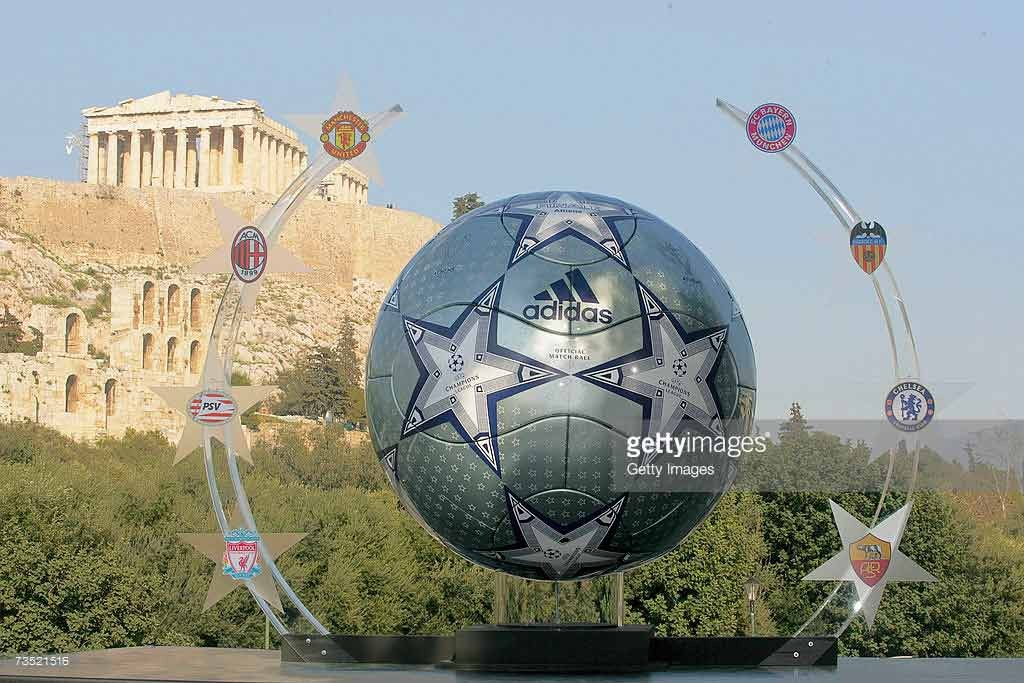ATHENS, GREECE - MARCH 8: A huge replica of the Adidas match ball for the UEFA Champions league final 2007 in Athensis unveiled in front Acropolis archaeological site on the on March 8, 2007 in Athens, Greece. (Photo by Getty Images for Adidas)