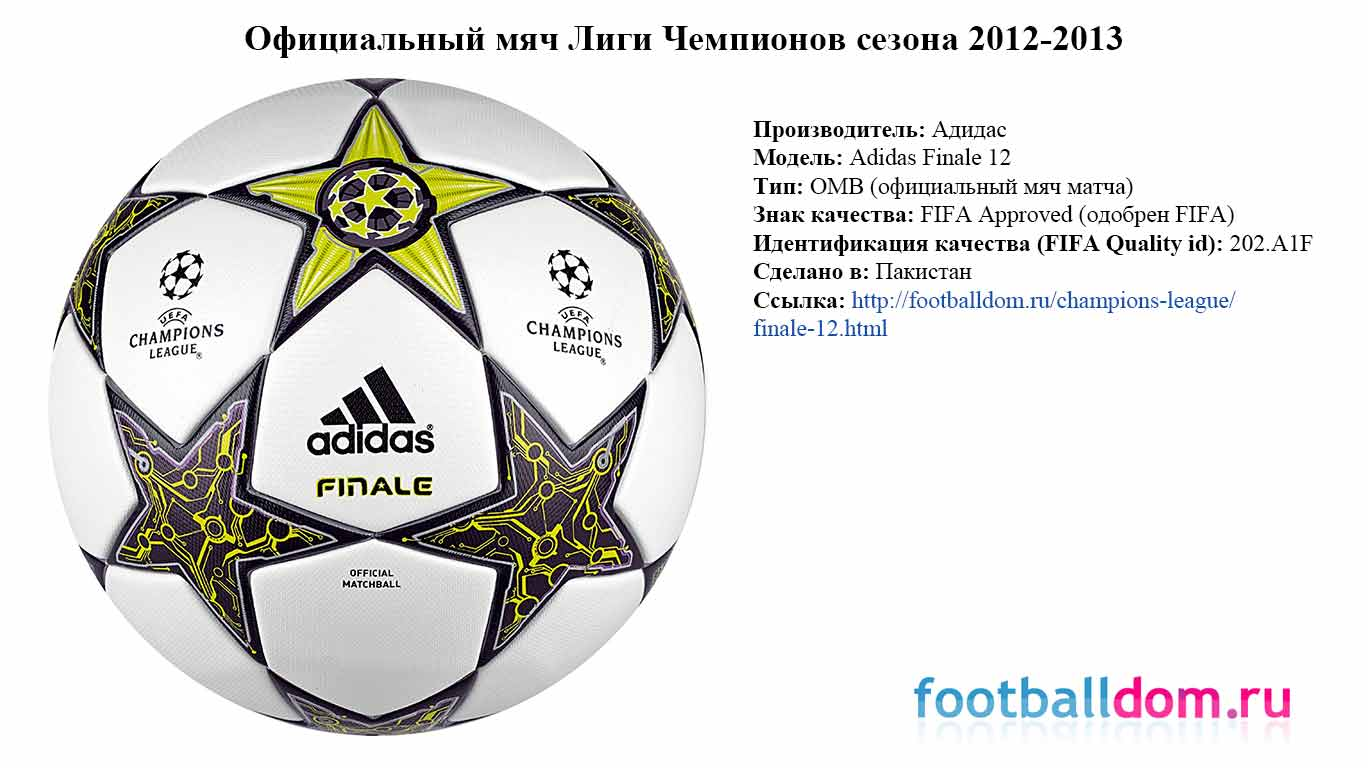 характеристики мяча лиги чемпионов сезона 2012-2013 Adidas Finale 12