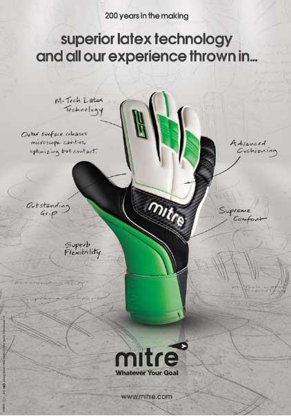 Вратарские перчатки выполненные в стиле мяча Mitre Delta V12