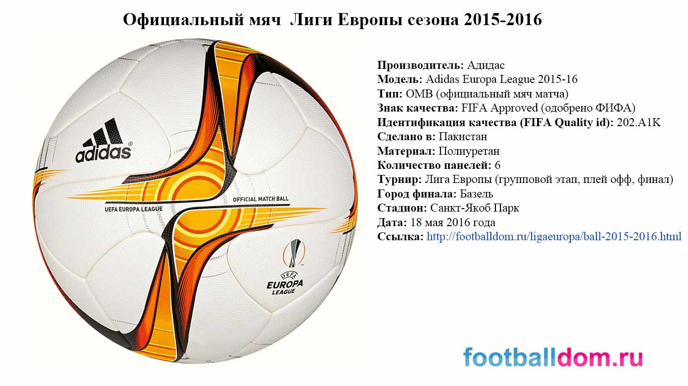 характеристики мяча Лиги Европы сезона 2015-2016